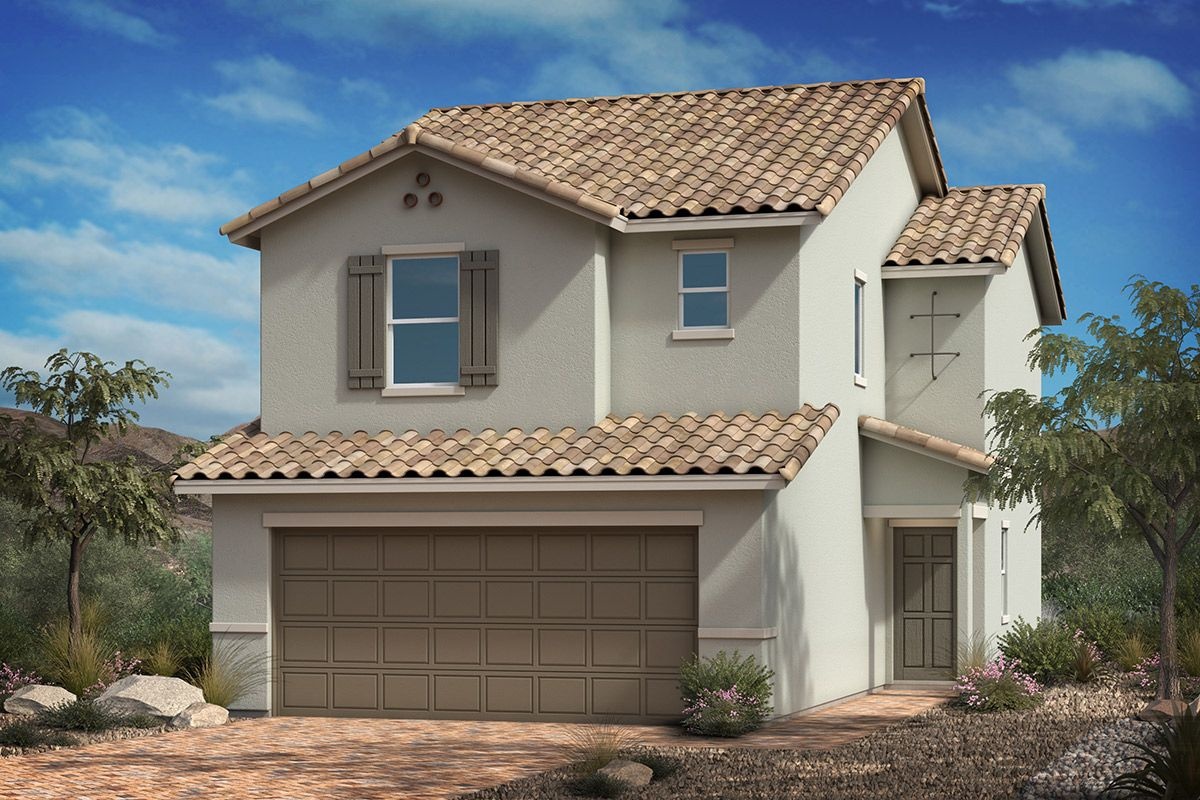 Exterior featured in the Plan 1455 By KB Home in Las Vegas, NV