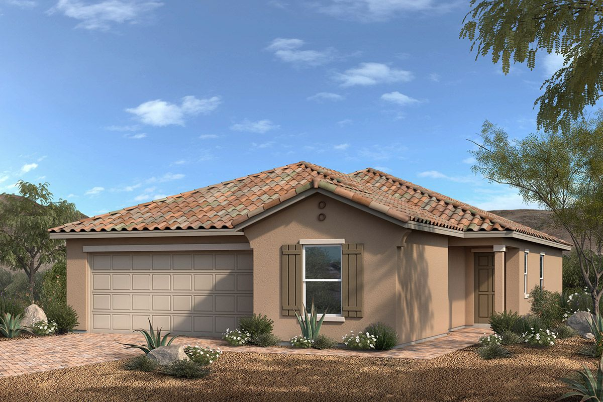 Exterior featured in the Plan 1550 By KB Home in Las Vegas, NV