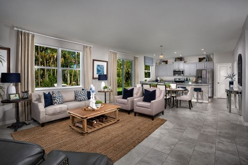 Greatroom-and-Dining-in-Plan 1769 Modeled-at-Coves of Estero Bay-in-Fort Myers