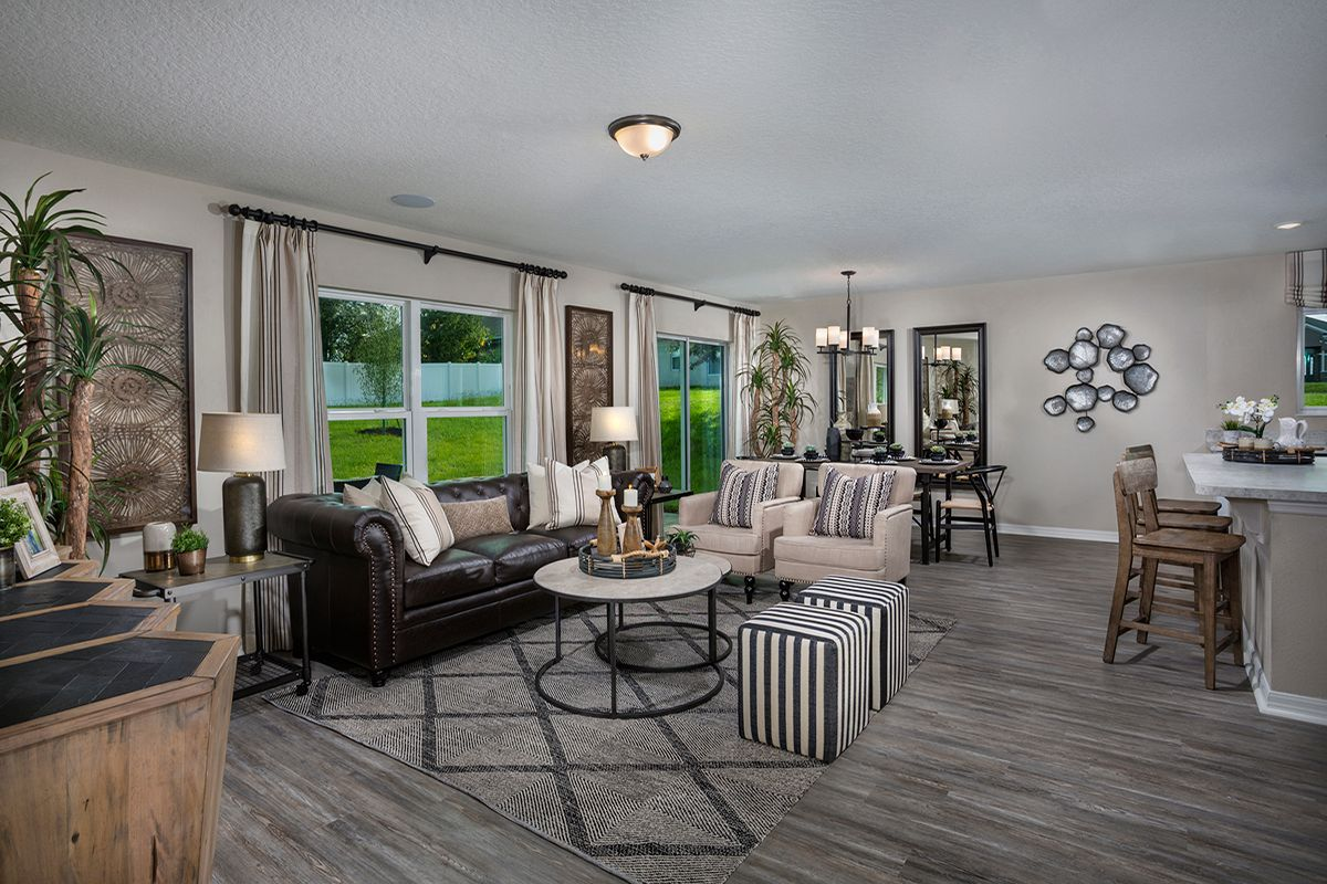 Greatroom-and-Dining-in-Plan 1707 - Modeled-at-The Gardens at Lake Jackson Ridge-in-Mascotte