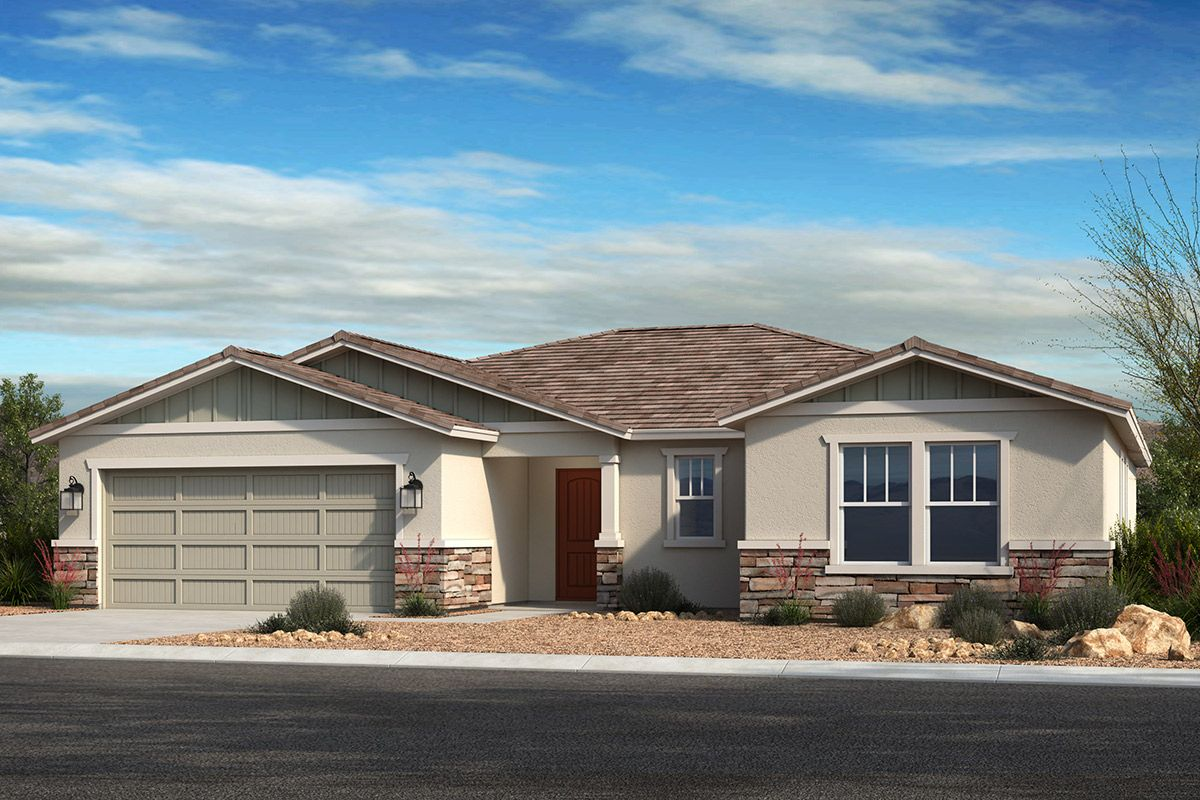 Exterior featured in the Plan 1860 By KB Home in Phoenix-Mesa, AZ