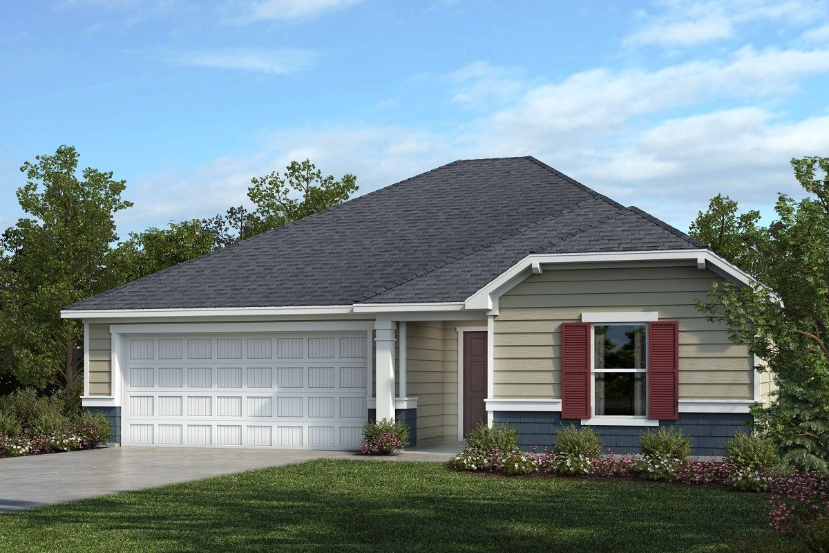 Exterior featured in the Plan 1445 By KB Home in Raleigh-Durham-Chapel Hill, NC