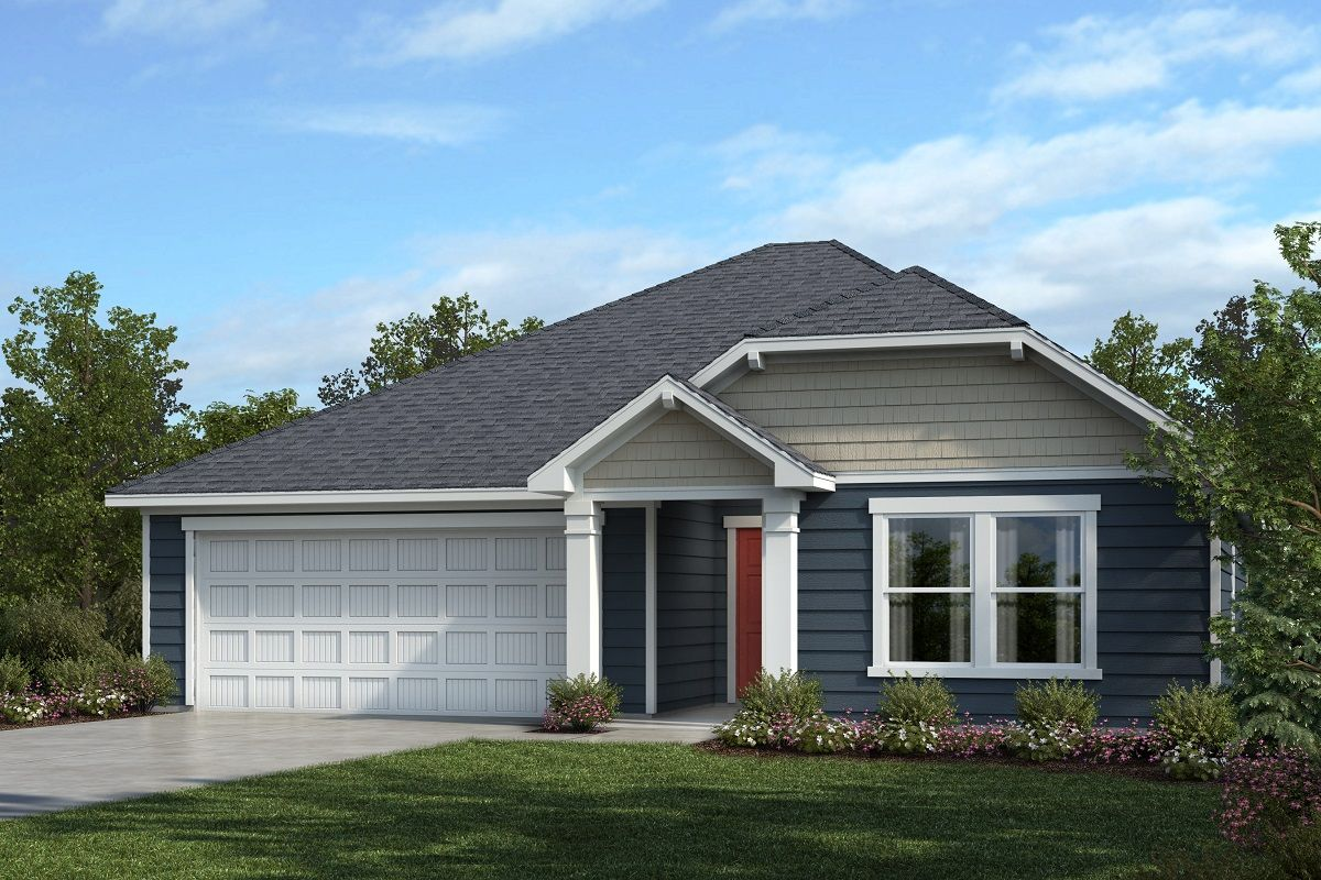 Exterior featured in the Plan 1582 Modeled By KB Home in Raleigh-Durham-Chapel Hill, NC