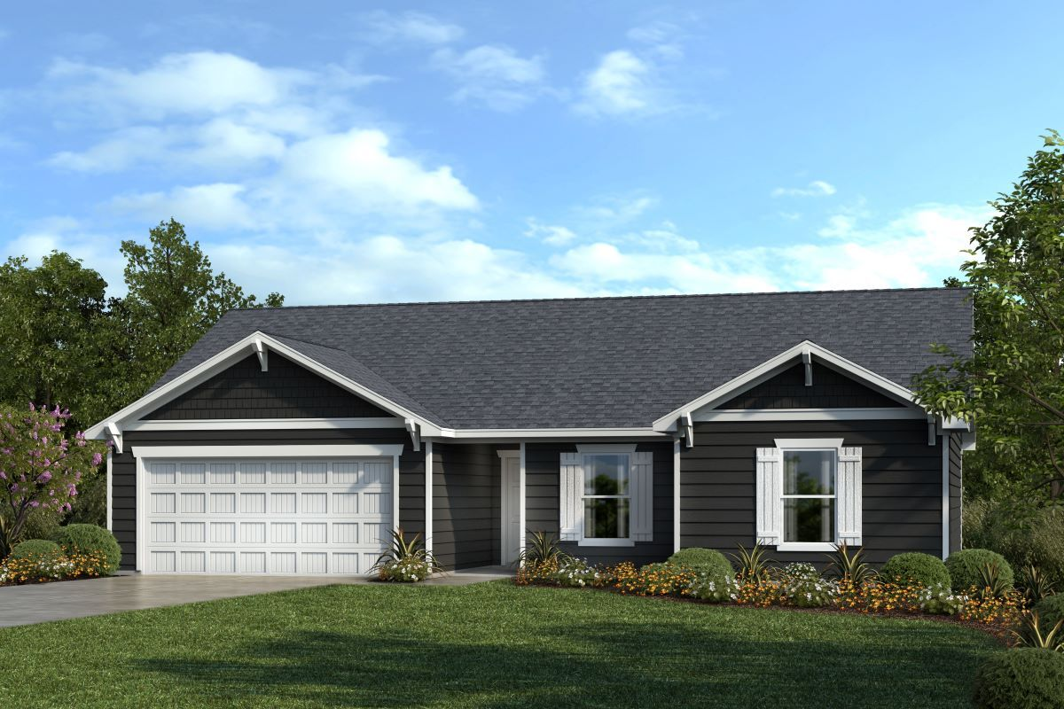 Exterior featured in the Plan 1446 By KB Home in Raleigh-Durham-Chapel Hill, NC