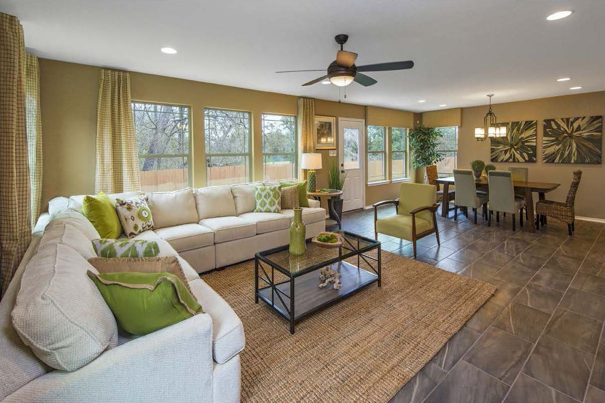 Greatroom-and-Dining-in-Plan 2411-at-CrossCreek - Sterling and Heritage Collections-in-San Antonio