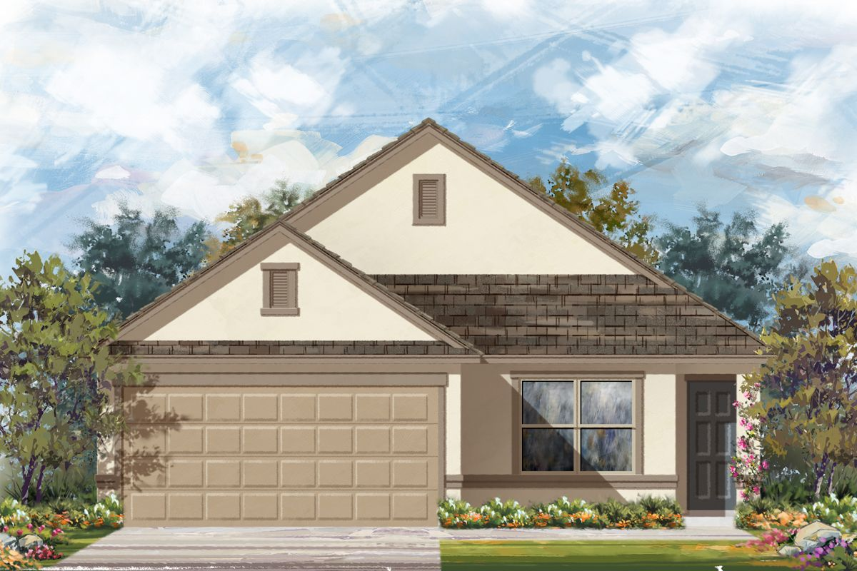 Exterior featured in the Plan 1516 Modeled By KB Home in San Antonio, TX