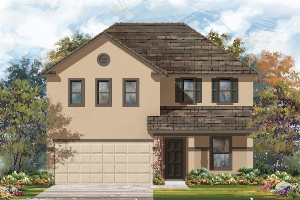 Exterior featured in the Plan 2403 Modeled By KB Home in San Antonio, TX