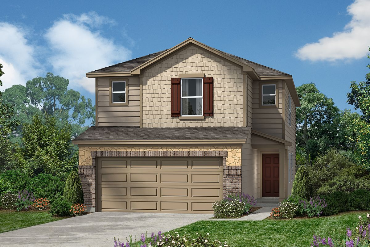 Exterior featured in the Plan 2080 Modeled By KB Home in San Antonio, TX