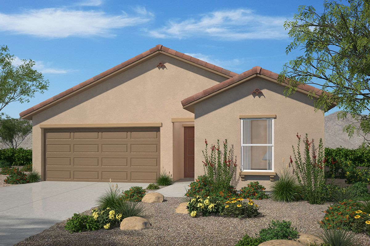 Exterior featured in the Plan 1584 By KB Home in Tucson, AZ
