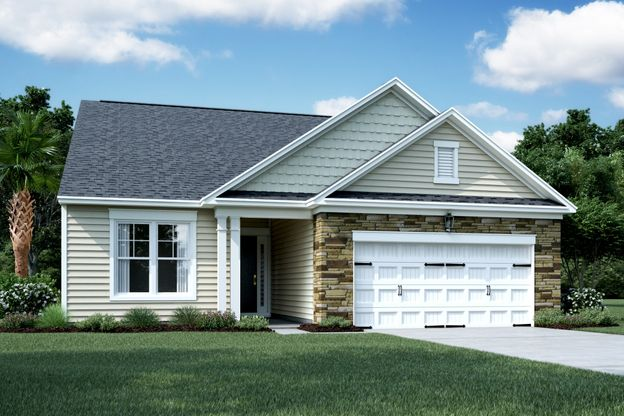 Exterior:Elevation D - Shown with Opt. Stone
