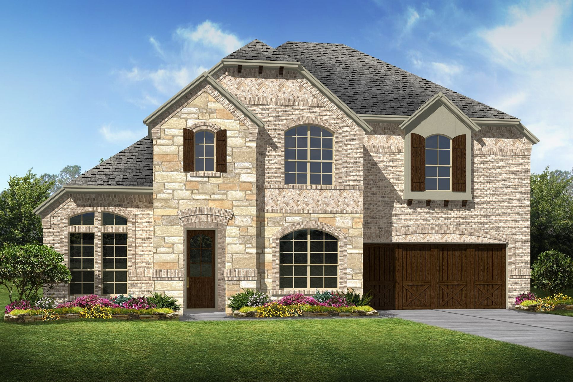 Exterior:Rosemeade II - C - Optional stone
