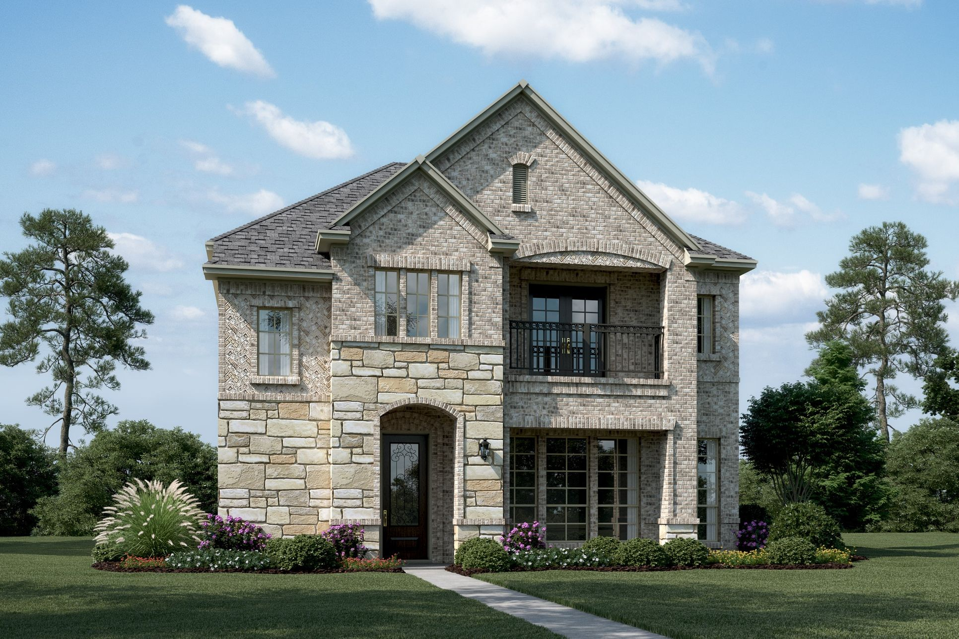 Exterior:Castlebury - S - Shown with stone