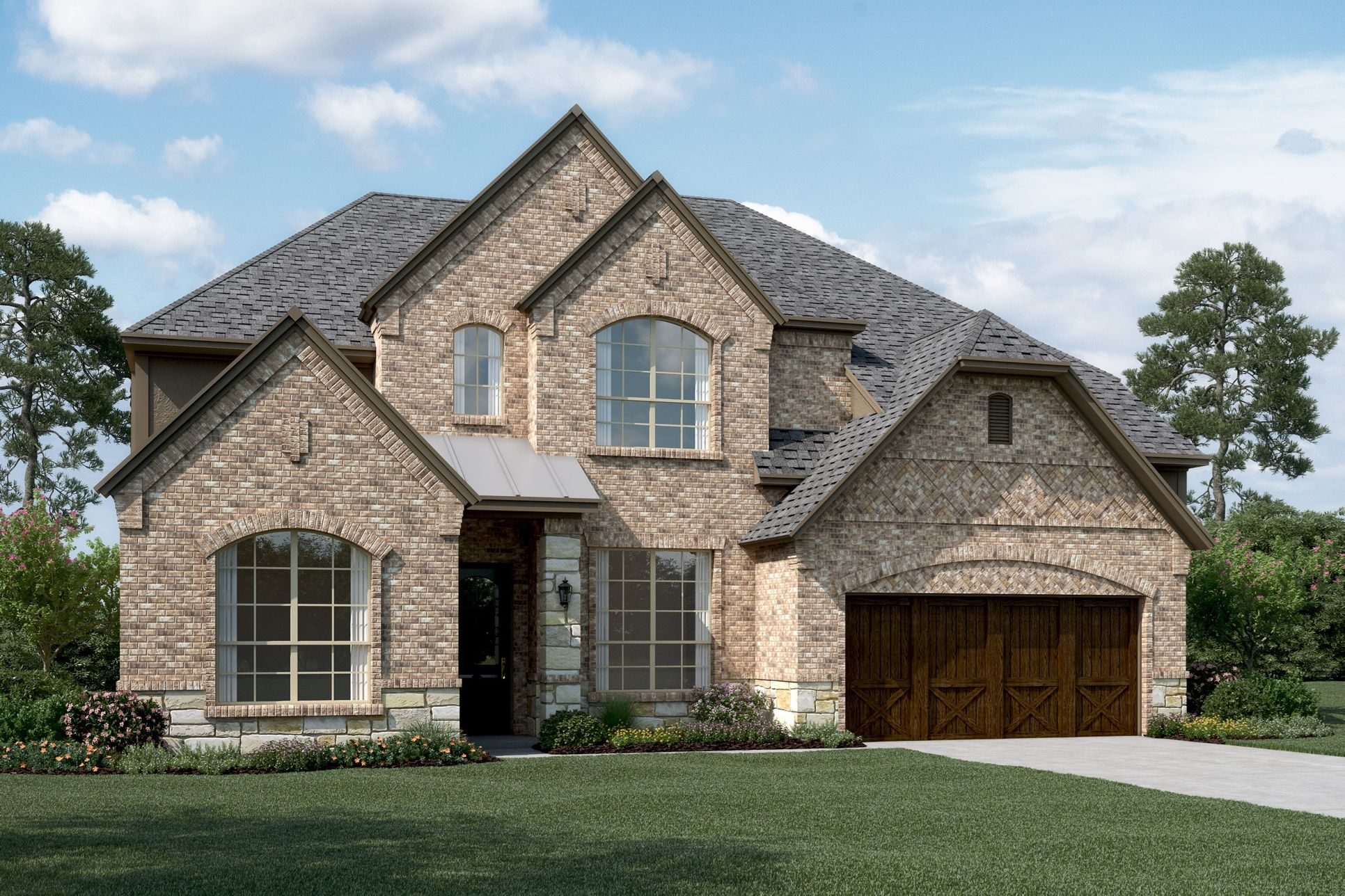 Exterior:Graystone III - E - Shown with stone