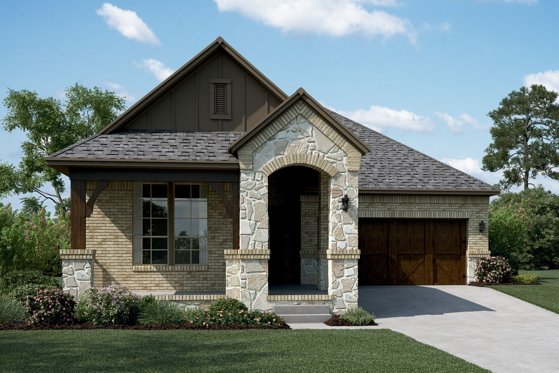 Exterior:Del Ray - B - Shown with stone