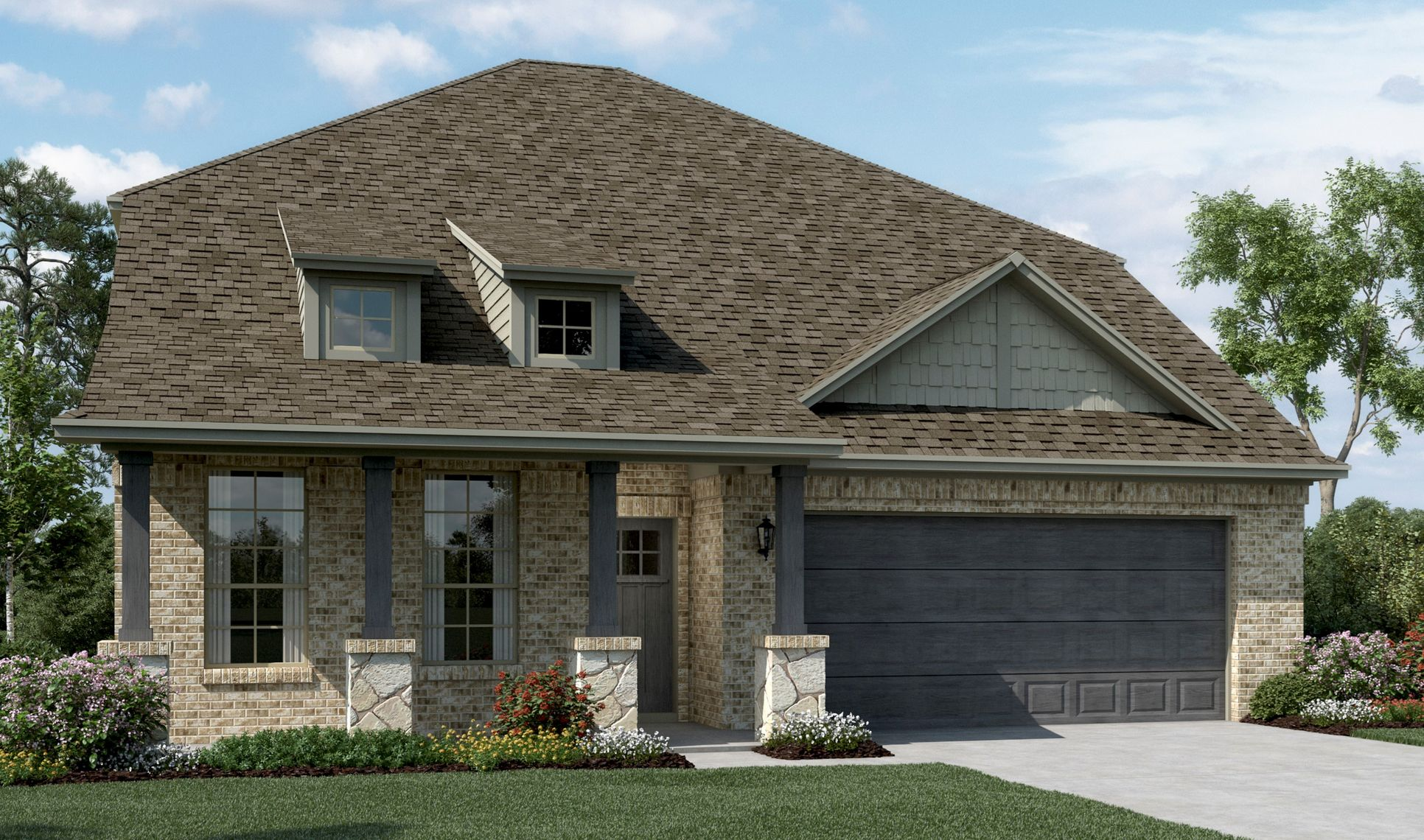Exterior:Calloway - C - Shown with stone