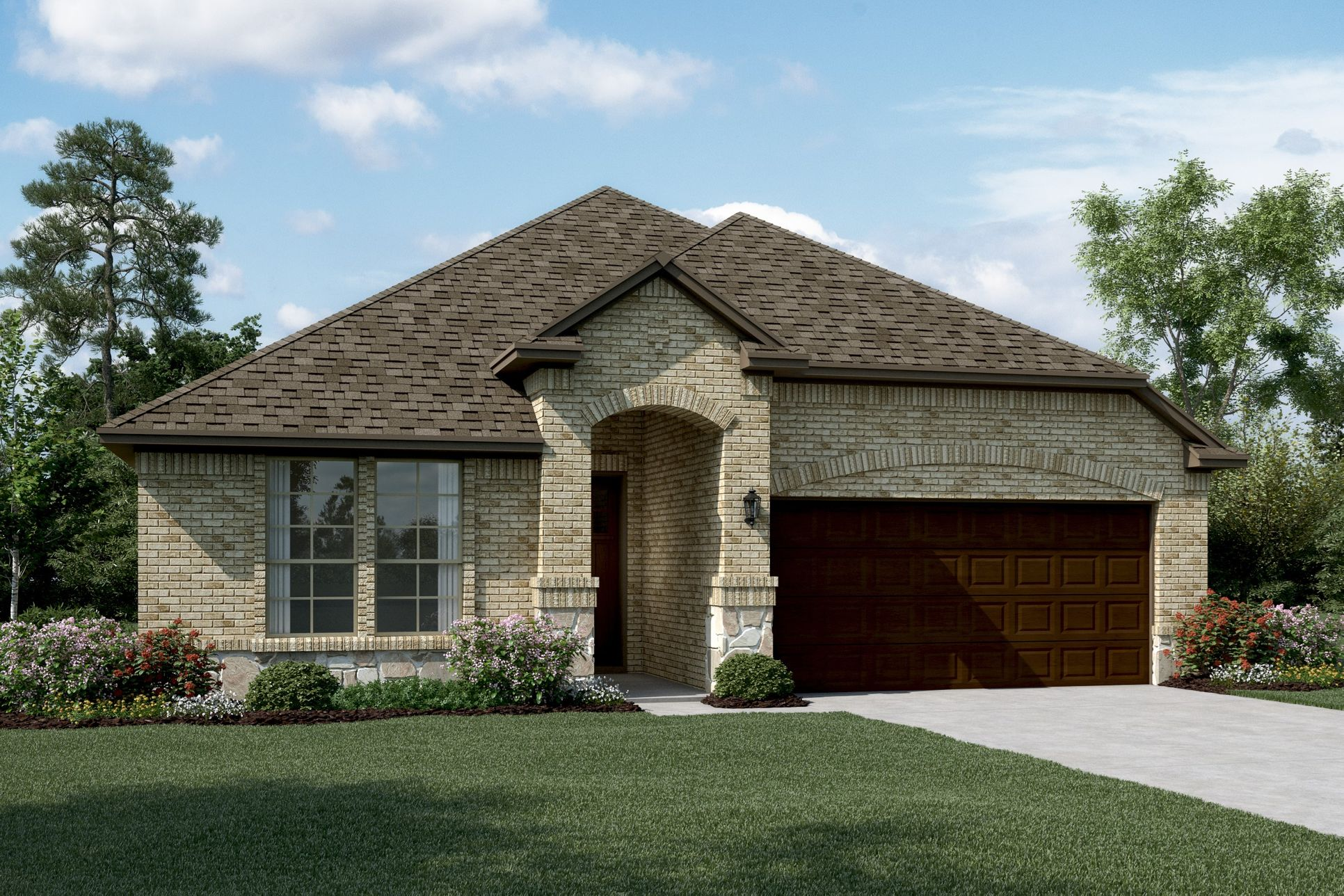 Exterior:Rockford II - C - Shown with stone