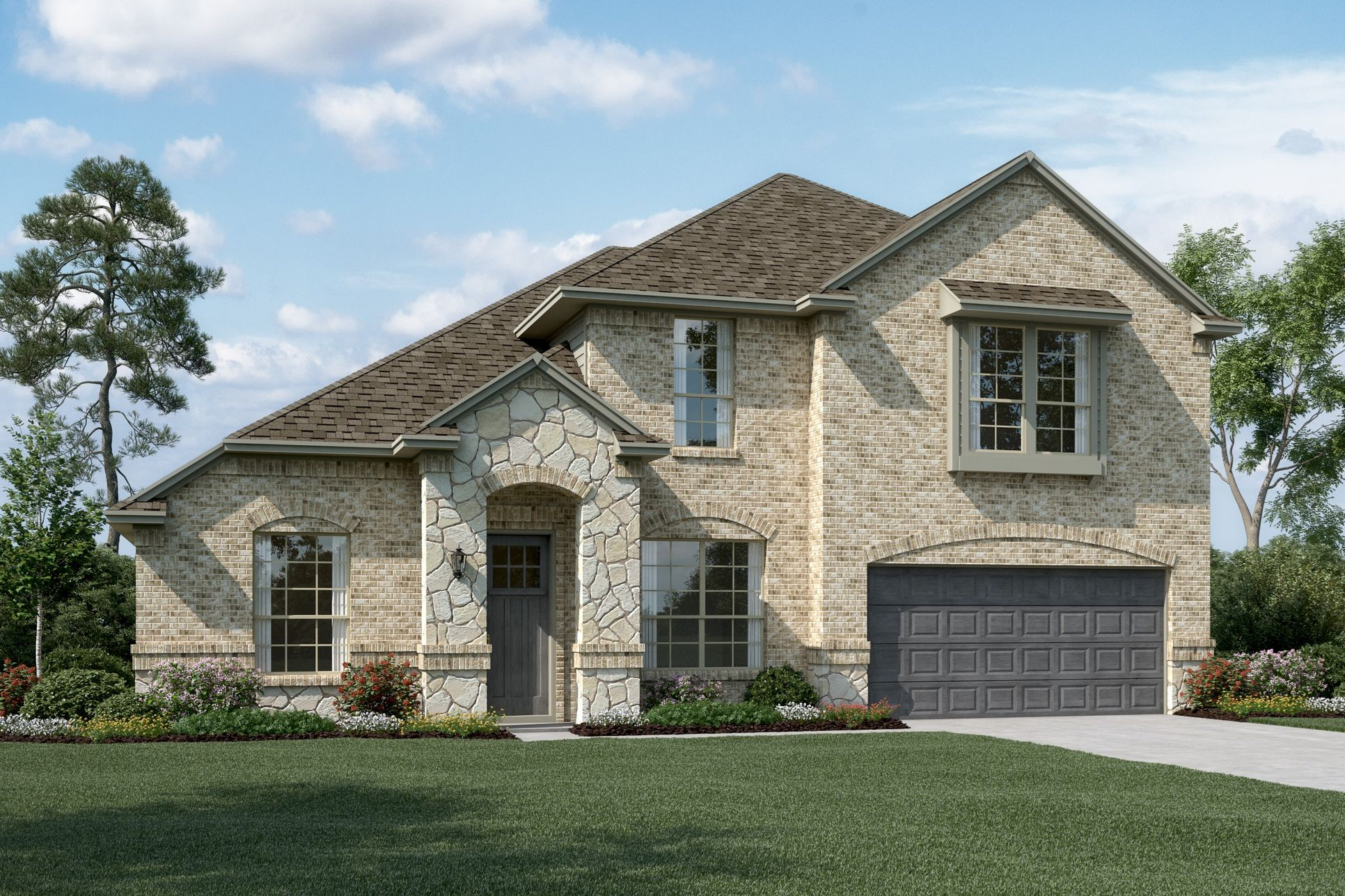 Exterior:Brentwood II - C - Shown with stone