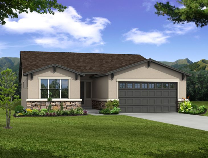 """The Fresco - Ranch Home """"E"""":Rendering of Stucco Exterior (Rendering of Home to be built)"""