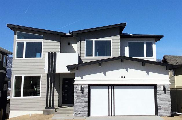 Exterior - The Ellington:Modern elevation with upper level balcony. (Photo of model)