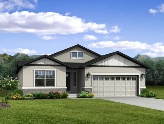 """The Vineyard - Ranch Home:""""Q"""" Elevation (Rendering of home to be built)"""