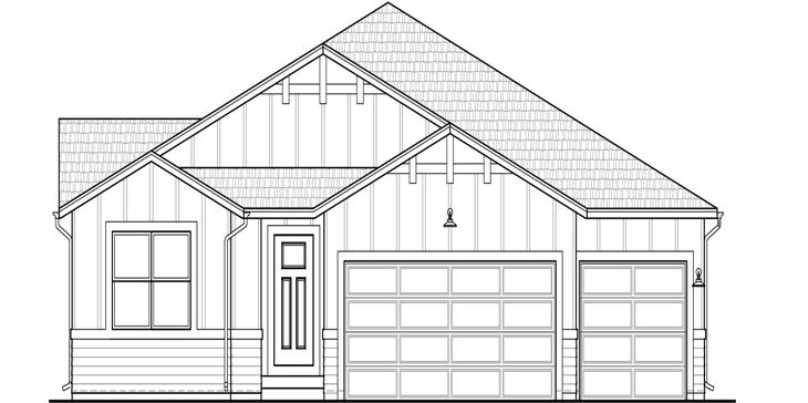 The Ellingwood - Ranch Home:Farmhouse elevation for our new Ellingwood home. (Rendering of home under construction)