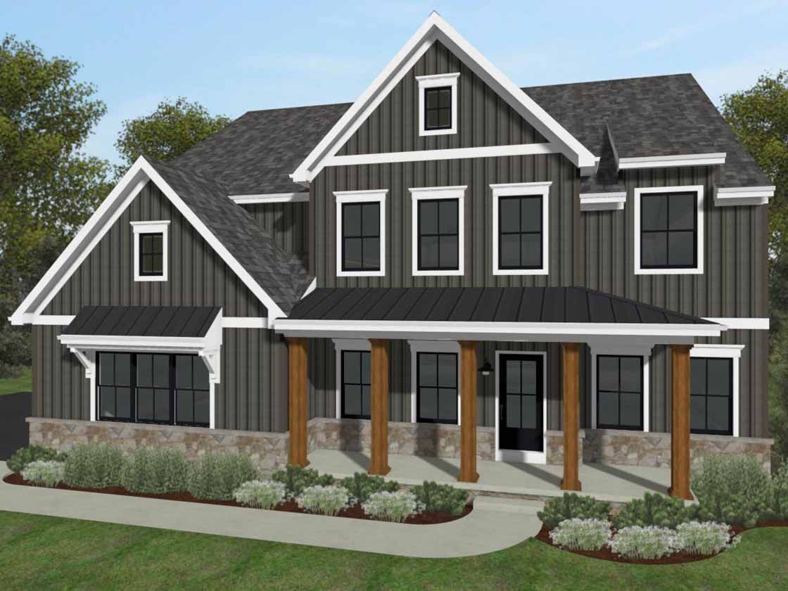 Exterior featured in the Devonshire Farmhouse By Keystone Custom Homes in Baltimore, MD