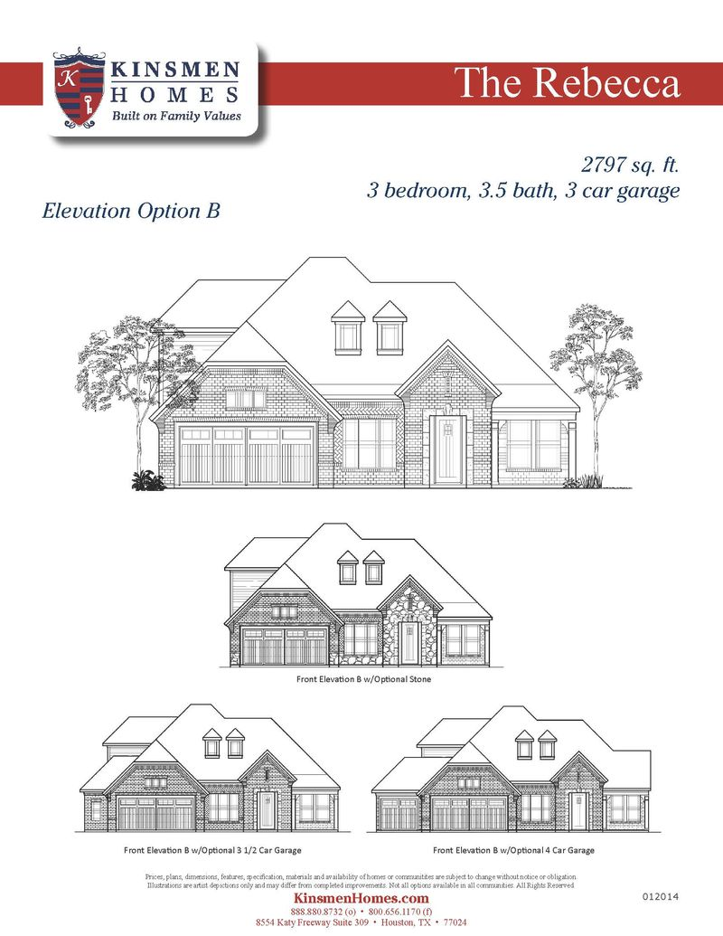The rebecca home plan by kinsmen homes in houston area for Build on your lot houston floor plans