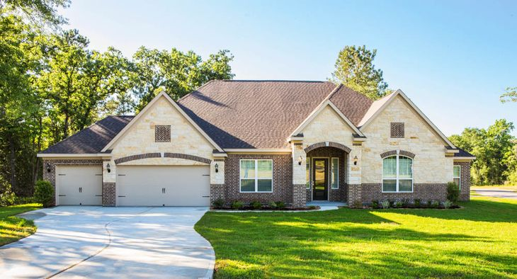 The Kingston by Terrata Homes:The Kingston features charming brick and stone details creating captivating curb appeal.