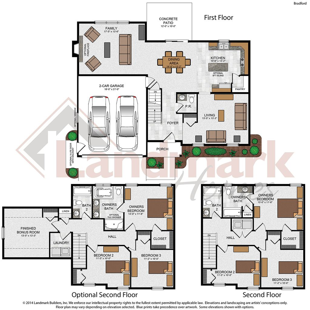 Bradford home plan by landmark homes in narrows glen for Landmark home plans