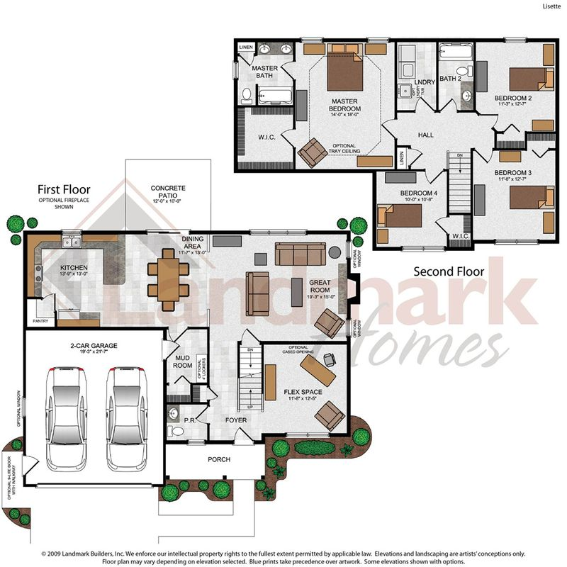 Lisette home plan by landmark homes in liberty station for Landmark home plans