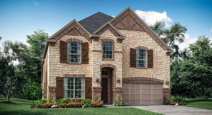 Bryson C Elevation with brick and stone