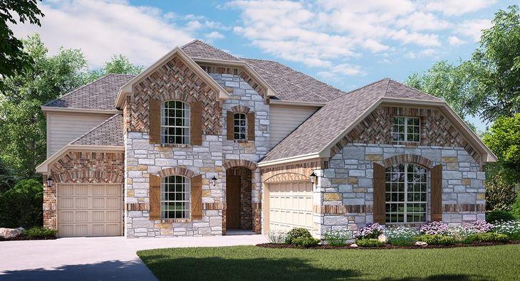 Saratoga C Elevation with brick and stone