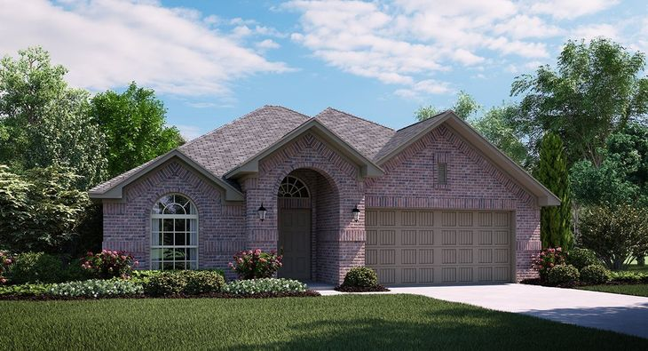 Travertine 3733 A Elevation with brick