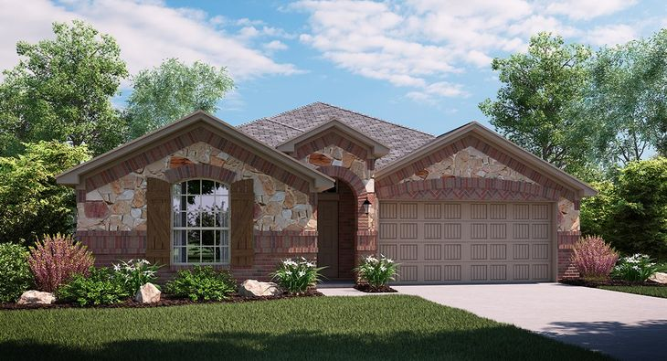 Hawthorn 3823 C elevation with brick and stone