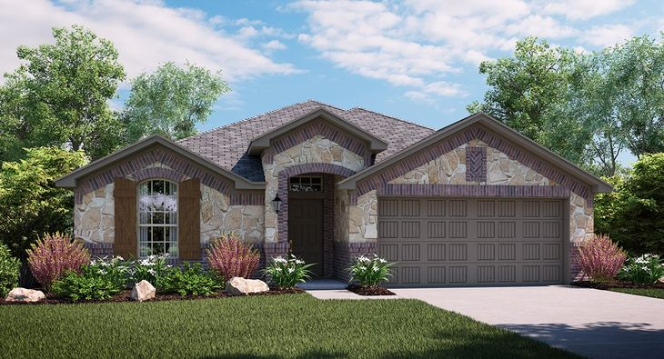 Violet 3843 C elevation with brick and stone