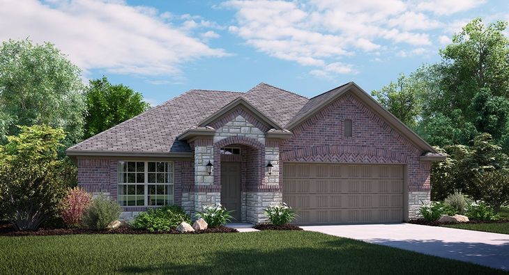 Cantera C Elevation with brick and stone