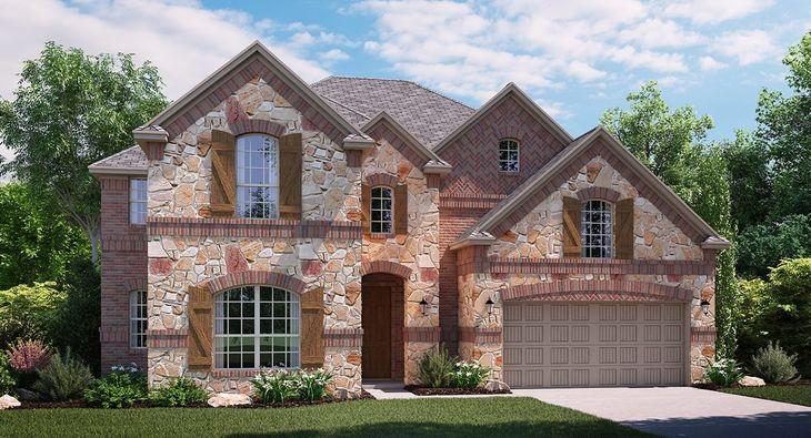 Shenandoah C Elevation with brick and stone