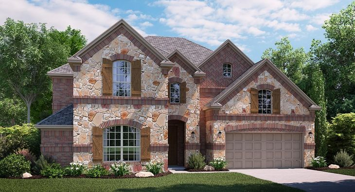 Freedom C Elevation with brick and stone
