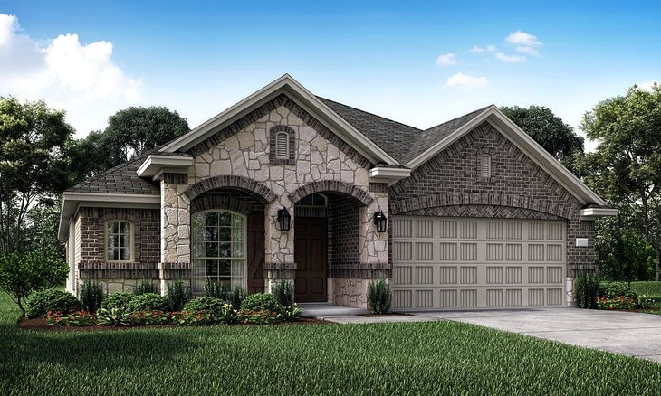 Travertine 3733 E Elevation with brick and stone