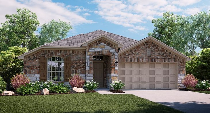 Bluebonnet 3853 C elevation with brick and stone