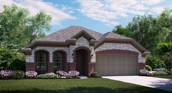 Cantera 3713 E Elevation with brick and stone