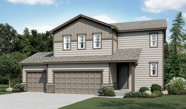 Coral-R903-PaintBrushHills Elevation A (3-car):The Coral - Elevation A