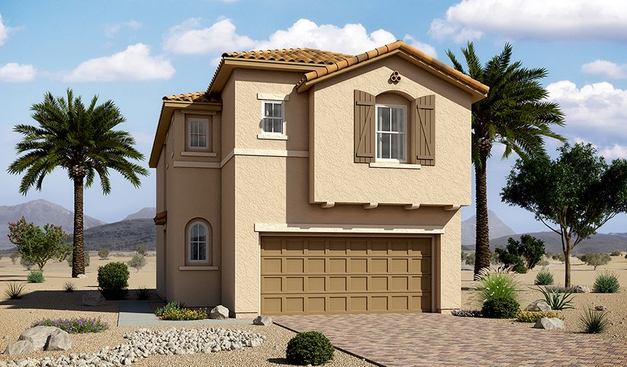 Exterior featured in the Hibiscus By Richmond American Homes in Las Vegas, NV