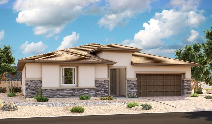 Exterior featured in the Paige By Richmond American Homes in Las Vegas, NV