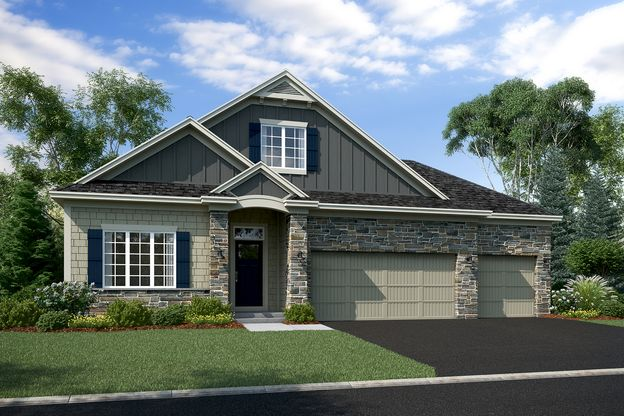 Newport Elevation A – Stone 3-Car