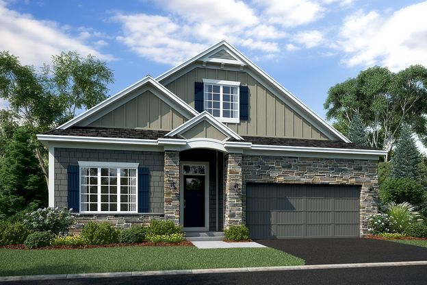 Newport Elevation A – Stone 2-Car