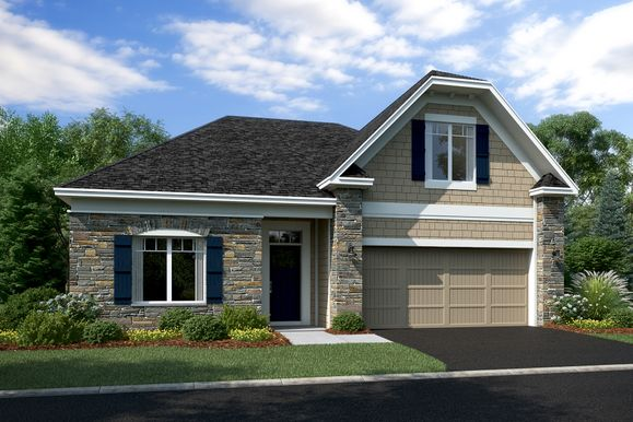 Linden 2-Car Elevation A - Stone