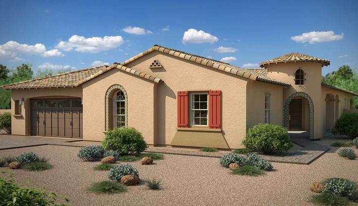 Exterior:Rendering   Elevation A - Spanish