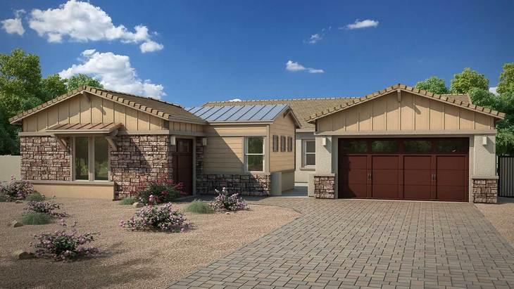 Exterior:Rendering | Elevation C - Contemporary Ranch