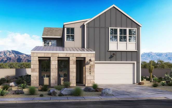 Exterior:Farmhouse Modern Elevation Rendering